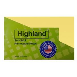 Highland Self Stick Removable Notes (3 X 5-Inches) - (100 Pcs)