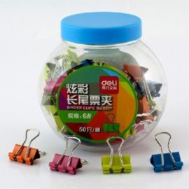 Deli Binder Clip(Assorted Color) 50 Clips/Tub