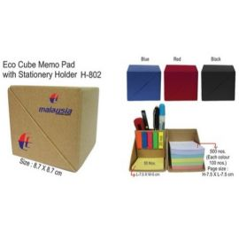 Eco Cube Sticky Memo Pad With Stationery Holder (H-802)