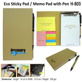 Eco Friendly Note Pad Stick-On Pad With Ball Pen (H-803)
