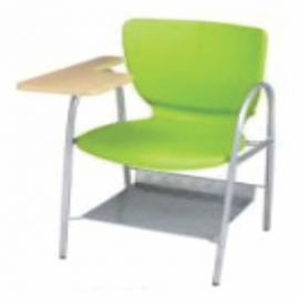 Chair With Writing Pad Afc-503  Powder Coated  Wooden Writing Tablate Attached Powder Coat  Pp Cell Down Net Rack