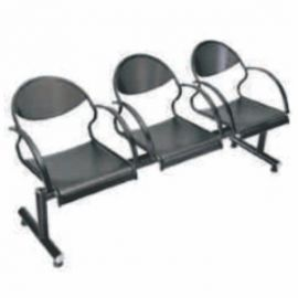 Visitor Chair Afc-612  Sofa With Metal Arms And Legs  Black Powder Coated Three Seater