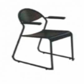 Visitor Chair Afc-613  Chair Metal With Arms  Black Powder Coated