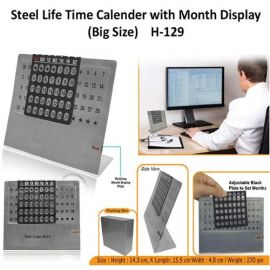 Steel Life Time Calendar With Month Plate (H-129) - Big Size