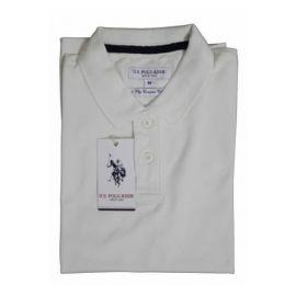 U.S. Polo Assn. Men Cream Solid Polo Collar T-shirt-XL