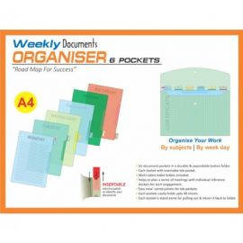 Weekly Documents Organizer, 6 Pockets, A4, Pack of 2, DD206