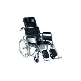 Deluxe Reclining Wheelchair With Commode