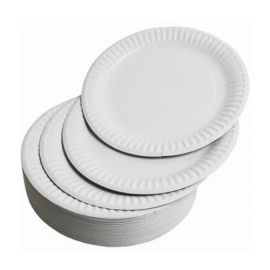"""Disposable Paper Plates, Round, 9"""", 100 Pcs/Pack-5 Packs"""