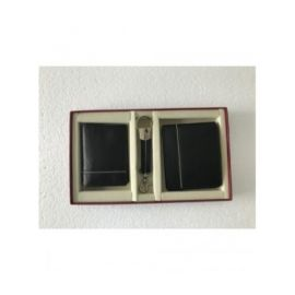 Three Piece Combo Set ( Waller, Key Fob & Card Holder )-Black