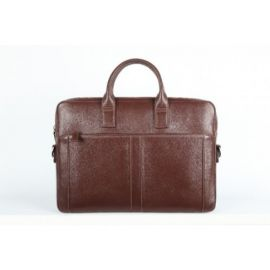 Elan Leather Slim Laptop Bag-Brown