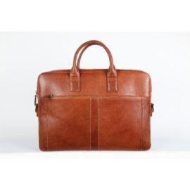 Elan Leather Slim Laptop Bag-Tan