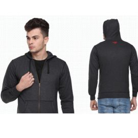 Flying Machine Men'S Hooded Sweatshirt - Charcoal Grey(L)
