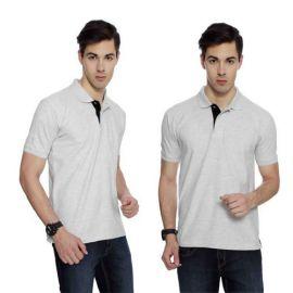 IZOD Men White Melange with Black Placket Collared T-shirt-XXL
