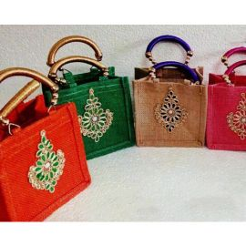 Jute Bags With Silk Handles