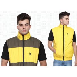 U.S. Polo Assn. Reversible Sleeveless Jacket - Grey And Yellow(M)