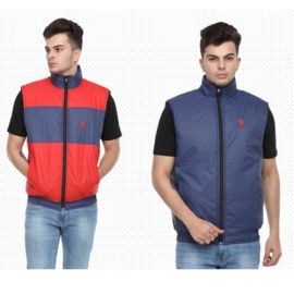 U.S. Polo Assn. Reversible Sleeveless Jacket - Navy Blue And Red(Xl)