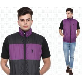 U.S. Polo Assn. Reversible Sleeveless Jacket - Purple And Black(M)